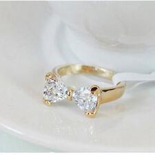 Women Wedding Fashion Engagement Lady Elegant Bow Ring Jewelry 18K Gold Plated