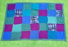Vtg HANDMADE Patchwork Quilt Blanket Throw Sweater Pattern w Multiple Buttons !