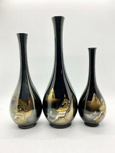 Vintage Set of 3 Japanese Chokin Black over Bronze Etched Mount Fuji Bud Vases