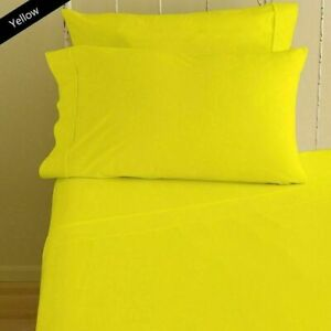 Attached Waterbed Sheet Set 100% Cotton 1000 TC All Size Yellow Solid