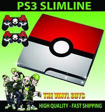 Playstation 3 Slimline Console Sticker Skin POKEBALL POKEMON GO & 2 X Pad Skins