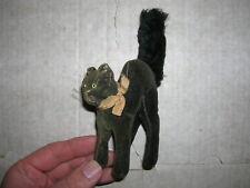"""Alte Steiff Katze """" Tom Cat """" schwarzer Kater mit Knopf (Vorkrieg?)"""