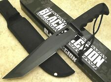 Black Legion Fixed Blade Bowie Knife Black Partially Serrated Tanto Blade