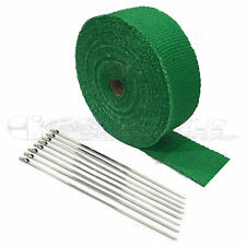 """Toyota 2"""" x 25' Protection Header Exhaust Heat Wrap Green with 8 Steel Ties NEW"""