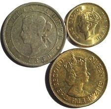 Jamaica 1869 Penny 1952 Farthing Unc 1962 Penny Unc