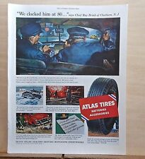 1953 magazine ad for Atlas Tires - used by Police Chief Ray Brink Chatham NJ