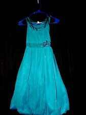 BOUTIQUE Girls 16 GLITZ party FORMAL dress pageant GLITTER wedding SATIN teal