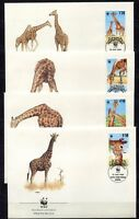 S3731) Kenya 1989 MNH Wwf, Reticulated Giraffes 4v FDC