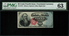 Fr-1376 $0.50 Fourth Issue Fractional Currency 50 Cent - Blue Right End - PMG 63