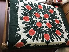 """Hawaiian quilt Full-Twin BEDSPREAD 100% hand quilted/appliqued 80""""x80"""""""