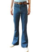 Mens Denim Bell Bottoms Flares Jeans High Rise vtg Mod Hippy Stonewash Blue