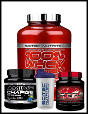Scitec Nutrition 100% Whey Bundle 2.35 kg Noisette Hot Blood Amino charge Shaker