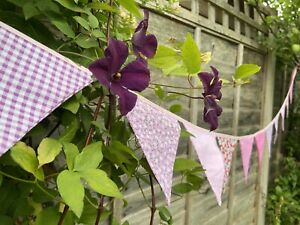 🌸 Pink Bunting - Floral Gingham Polka Shabby Chic Decor Pretty Fabric 9ft🌸
