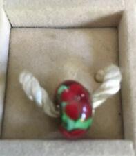 NEW RETIRED Chamilia Sterling Silver Poinsettia Murano Glass Charm Bead