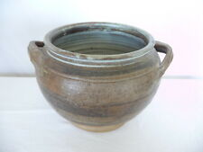 "Large Hand  Made Art Pottery Bowl with Handles Signed 6"" Tall"