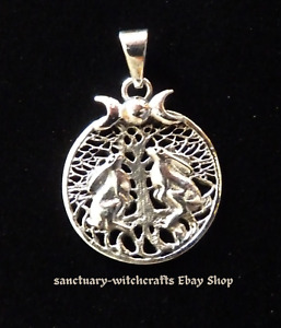 Sterling Silver Tree of Life, Triple Moon & Hares Pendant. Lisa Parker.