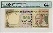 Reserve Bank India PIck 106c  500 Rupees 2012-16 solid no. 888888 PMG  64EPQ