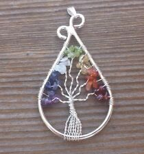 DROP/PEACOCK STYLE  7 CHAKRA TREE OF LIFE  WIRE WRAPPED PENDANT STONE GEMSTONE