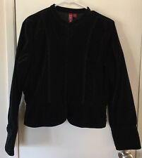 SO Brand Velveteen Military Style Black Hook Blazer Jacket SZ XL Women's Career