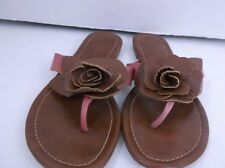 Colin Stuart Brown Leather Flip Flops Flower Detail Sandals size 6.5