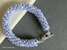 Lilac Purple & Pearly White Braided & Woven Kumihimo Seed Bead Fashion Bracelet