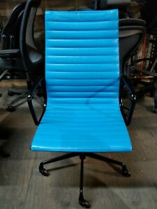 2006 Eames Herman Miller High Executive Aluminum Group Desk Chair leather blue