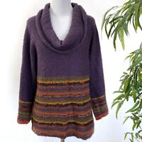 Coldwater Creek Womens Size Small Cowl Neck Sweater Eggplant Dolman Sleeves