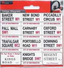 12 Imanes de nevera de calle carretera signos de Londres Souvenirs Westminister Reino Unido Inglaterra GB