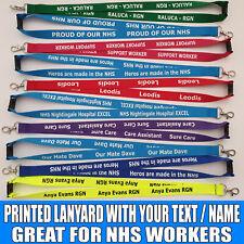 Personalised custom or plain neck strap LANYARD for nurse NHS support gift carer