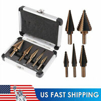 5Pcs Cobalt Metal Step Drill Bit Set HSS Multiple Hole 50 Sizes W/ Aluminum Case