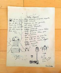 """FRIDA KAHLO 13.75"""" x 11""""  INK PAPER DRAWING PERSONAL POEM, STYLED INTERVENTION"""