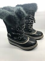 SOREL Joan of Arctic NY1858-013 Youth Girls Size 3 Black Fur Winter Snow Boot