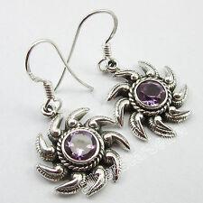 "925 Pure Silver Beautiful AMETHYST ETHNIC UNUSUAL Earrings 1.3"" GIRLS' GIFT"