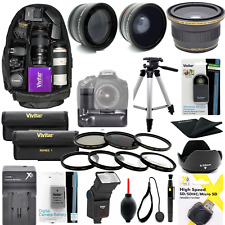 CANON EOS REBEL T3I GIANT HD  LENS FILTER FLASH TRIPOD GRIP BACKPACK BATTERY KIT