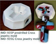 IMD-935P PREDRILLED JEWELRY BLANK CROSS GLASS pod mold NEW