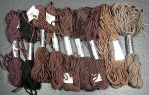 9x Needlepoint/Embroidery THREAD J L WALSH Silk Wool-dark browns-XW129
