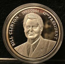 American Mint, President Of The USA Bill Clinton Proof Coin Silver Plated 2009