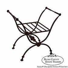 Quality Heavy Iron X Base Curule Regency Style Bench