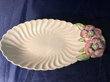 RARE OVAL SHAPED - CLARICE CLIFF FLUTED DISH WITH CLEMATIS HANDLE