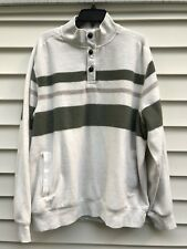 Chaps Mens XXL Pullover Fleece Sweatshirt Cream Green Tan