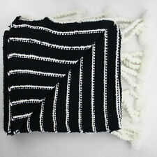 Black & Cream Large Striped Throw Blanket Woven Rug Tassels Bed Cover