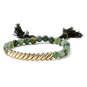 Banana Republic Womens Beaded  bar elastic tassel Bracelet NWT 44 GRN BLK GOLD