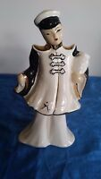Asian Chinese Man Figurine Gold Trim Vintage Porcelain
