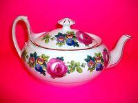 "Phoenix China Tea Pot Lid Cecho Slovakia Pink Roses Blue Floral 9 3/4"" Long PHE7"
