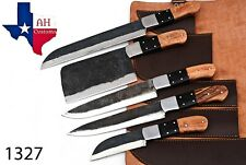 5 PIECES HAND FORGED RAILROAD SPIKE CARBON STEEL CHEF KNIFE SET Kitchen Set 1327