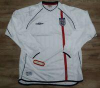 England Soccer Jersey Football Shirt 100% Original XL 2002 World Cup LS NEW