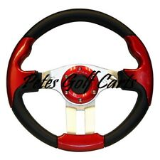 Golf Cart Steering Wheel 13 Inch Black Red Club Car Ezgo Yamaha