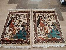 New Awesome Umre Khayam Love Hand Knotted Rug Wool Silk Carpet Pair (3 x 2)'