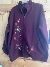 "Burgundy Wine Fleece Jacket Coat Size 20/22 By Classics Chest 48"" Approx."