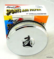 AIR FILTER WEBER DGV.DGAV.DGAS.DGMS RETRO CHROME ROUND 9""
